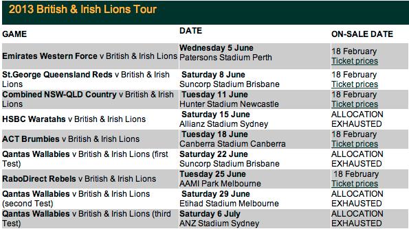 Lions Tour Dates